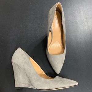 NEW Express Gray Suede Wedge Pumps